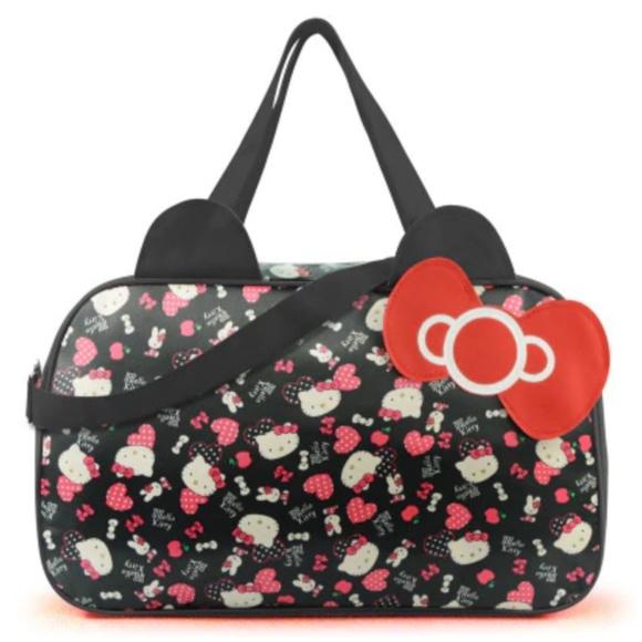 eb5b783a0a93 Hello Kitty Large Black Gym Duffle Travel Bag